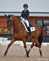 """Winner in the FEI Prix St George on Sunday, """"REVELRY R"""" ridden by Faye Hinchliffe with a score of 66.324%"""