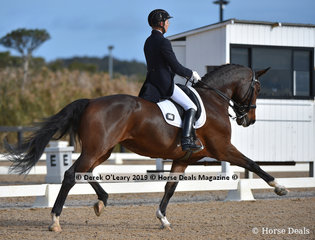 """""""Corinna"""" ridden by Lone Joergensen, winners in the Big Tour Championship with a final score of 70 points, scoring 73.236% in the Inter II"""