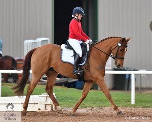 Gabriella Officer from Ballarat Clarendon College took out the Novice Intermediate Championship riding, 'Wisteria'.