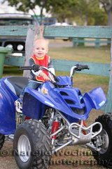 17 month old Connor Hungerford said 'Give me some real horsepower' as he was happy to try out this groovy motorbike