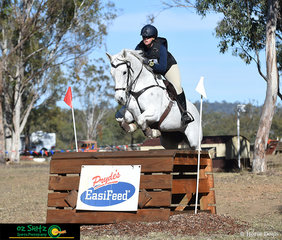 Popping over the Prydes Oxer in the Two Star cross country track on the final day of the Warwick Horse Trials was Sophia Edwards and Belrieve Ice Queen.