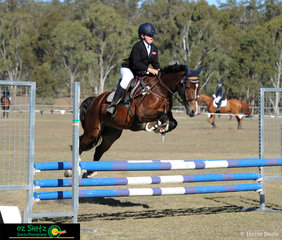 Alcheringa Colwyn Bay the reliable pony formerly owned by the Searle family, now ridden and owned by Interschool Rider, Keeleigh Wise competing in the EvA80 class.
