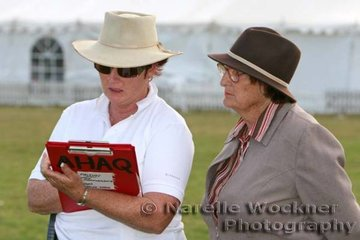 President of the Arabian Horse Association(Qld) Inc, Leonie Williamson, makes a final tally of points under the watchful eye of judge Marion Dale of the competitors in the Any Gear Trail class. This class held for the first time after many years, was enthusiasticaly encouraged by Leonie as a wonderful training experience for any rider & any gear