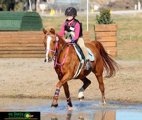 Pretty in pink was Molly Gander riding in the EvA 45cm ODE class held at ALEC in Tamworth riding her pony Mimmie at Interschool Horse Extravaganza 2019.