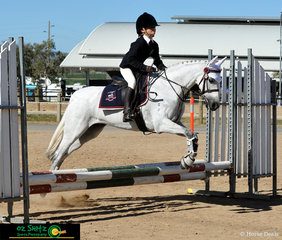 Showing some scope in the Combined Training 45cm class is Bellevale In The Moment with Primary rider Madeline Gaden on the second day of the Interschool Horse Extravaganza.