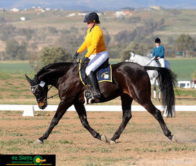 Performing a nice low and long trot near the end of the Senior Preliminary dressage test was Claudia Williams from Narrabri High School and her horse Killara Lestweforget.