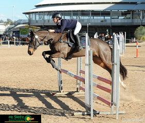Enjoying the sunshine and moving swiftly through the 80cm Senior class was Ashleigh Aitken from Oxley High and her horse Wanrua Jemima.