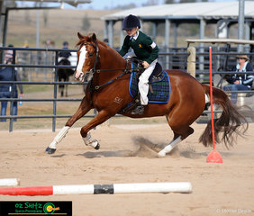 Rounding the second peg in the time trial phase of the Working Horse Challenge, Cody Frazer and Playmore Roulette race through the rest of their course.