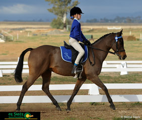 Presented beautifully in blue for the Primary Preliminary dressage test was Emma Chisholm from Beecroft Public School and her pony Wesswood Liberachie.