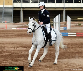 Zooming through the Primary 45cm Show Jumping class was Lily Clemen from Hunter Valley Grammar and her pony Special Effects - Specs. .