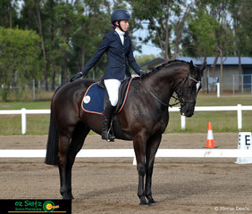 In her final salute of the Intermediate Preliminary 1A Dressage test was Ashlee Sturgess riding her horse Sneaky Peterson at the Queensland Interschool State Championships held at Maryborough.