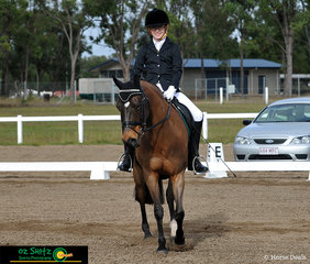 Smiles all around for Ben Randall, age 14, after completing his Intermediate Preliminary 1C test, representing Grace Lutheran College Caboolture riding his pony Smithfields Magic Dancer who goes by the stable name Harley.