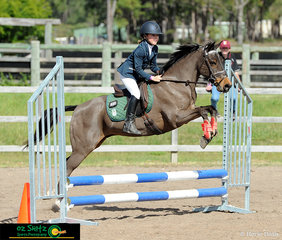 Clearing jumps on day 2 of the Queensland Interschool State Championships was year 3 rider Josephine Ostwald on her pony Coco Coco representing St Stephens Pittsworth.