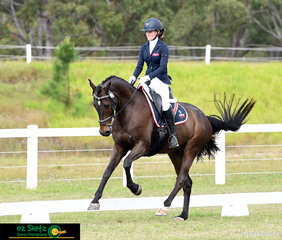 Showing a powerful canter movement in the Elementary Dressage, Test 3C at the Queensland Interschool State Championships was Lilian Lockhart riding Don Rocco from Queensland Academy for Science, Mathematics and Technology.