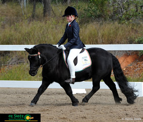 Showing great extension in the Primary Preliminary dressage was the small but mighty Kristamoor Lodge Kieran with rider Phoebe Blanc.