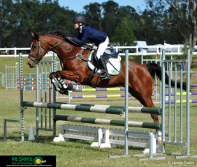 Year 7 student Saacchi Stiefler was showing pride for her school, Victory College in Gympie, on her horse Small But Mitey in the 80cm Secondary AM5 during the Queensland Interschool State Championships held at Maryborough.