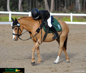 Last rider in the Primary Preliminary dressage was Chelsea Mead where she gives Aston Madonna a cuddle after riding a great test.
