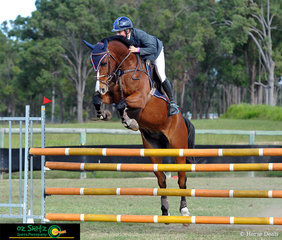 Flying over the 1.2m Secondary A2 was Ben Bates on Something To Talk about who goes by the stable name of Bommer from Aquinas College Gold Coast at the 2019 Queensland Interschool State Championships.