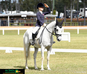 With a confident entry salute was Geneva Searle riding Valentino Dusty representing her school, Kilcoy Primary School, competing in the Primary Preliminary Test 1A at the 2019 Queensland Interschool State Championships.