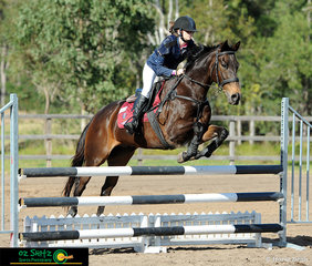 Both Anatasia Fox and Strained Lyrics had their game face on in the jump off phase of the 90cm AM5 round on the first of three days of Show Jumping at the QLD Interschool State Championships held at the Maryborough Showgrounds.