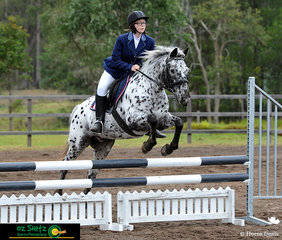The beautiful Let's Get Loud takes rider Dannan Isherwood through the combination on the Show Jumping track for the Secondary 80cm A2 round.