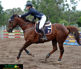 Delmonico earned a big pat from Georgia Robertson after they completed their round in the 100cm AM5 on the second day of Show Jumping at the Queensland Interschool State Championships.