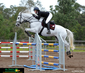 Coming into the final jump in the first round of the 120cm AM5, Harmony Hills Fabio was not touching those rails with rider Tara Wilkinson at the 2019 QLD Interschool State Championships.
