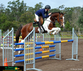 Oz Shotz sponsored rider Jayden Donald soaring over the Secondary 1.1m 2 Phase Show Jumping riding SS Regal from Ipswich Grammar School for the first time as this new combination.