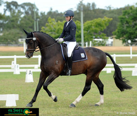 Floating around the arena in the Showman class was Sabrina Hitch and Dicavalli Dandy at the 2019 Queensland Interschool State Championships in Maryborough..