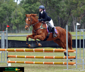 Chestnut mare Balmoral Dr Magic and rider Lucy Griffiths from The Glennie School in Toowoomba competing in the Secondary 80cm 2 Phase Show Jumping in Maryborough.