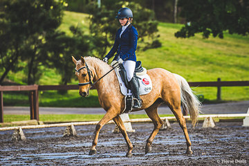 Queenslander Gabrielle Jarrett and Jalilah finished third in the  Elementary 3B Pony with a score of 64.348%