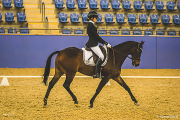 Caitlyn Dulhunty (NSW) and her pony Sanlirra Xceptional in Medium Freesytle finishining 6th with a score of 66.088%