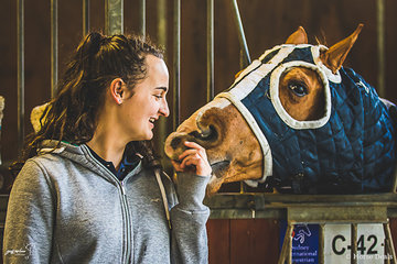 Claire Nitschke and Tassas Taboo (Aka Tabby) enjoying quiet times back at the stables on the Thursday before competition begins