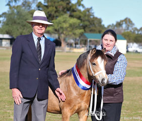"""Welsh judge Gary Le Brocq with the Champion Welsh Gelding Foal """"Woranora Pharaoh"""", exhibited by Catherine Egan."""
