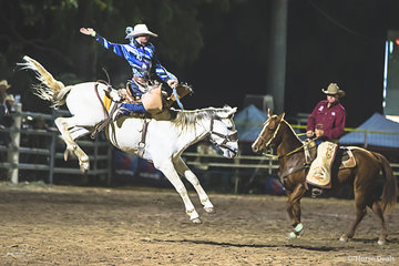 Jason Collins from Wagga Wagga (NSW) doing well in the Saddle Bronc in the State of Origin Challenge