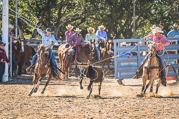 Cameron Parkinson farrier from Willow Tree NSW and Heath Nicholls a stock and station agent from Scone NSW teamed together for a time of 8.23 seconds in team roping round 3