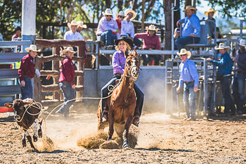 Katrina Hickey from Georgetown scored 4.17 in this the second round of the breakaway roping to have an aggregate score of 16.50