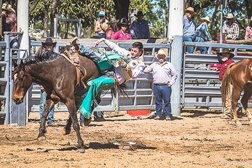 Harry Ash from the southern highlands NSW in the bare back dismounting after he marked out for a   successful 2nd round for a score of 74. Harry has also successfully competed in the USA