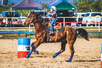 4yo Weston Hilditch and Beggin the one eyed hero scaring the pants off mum Shandell cantering for the first time in the under 8's barrel race coming home with a time of 65.631 to place second.  Dressage riders note the up hill canter and the hind leg!