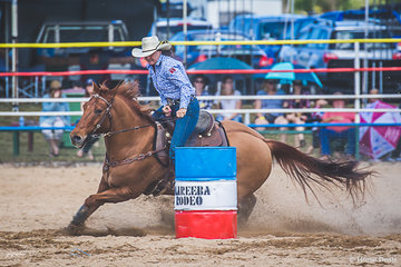 Suzie Fearon from Townsville in the ladies barrel racing leading round 1 with a time of 18.452