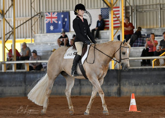 Alyssa Dinnage riding SSQ Gold Medal Seeker in the Youth 7-11 years Hunt Seat Equitation