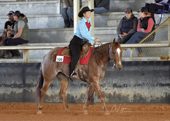 Milissa Payne riding HPH Oaks Category Five in Amateur Ranch Riding