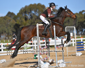 """Samantha Brooks in the Pony Club C Grade riding """"Sonic Prince"""" representing Werribee Pony Club placed 6th in the two phase"""