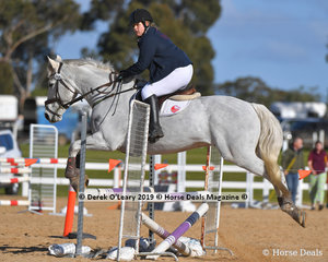 """Jackie Kerry riding """"Harley"""" in the Open C Grade Class."""