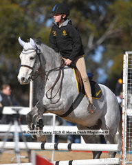 "Sophie Fosnaugh in the Pony Club E Grade riding ""Monahan Vagabond"" representing Gisborne Pony Club"