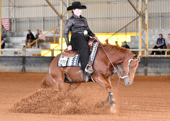 Kelsey Moyce riding Whizkey On The Rocks in Youth reining