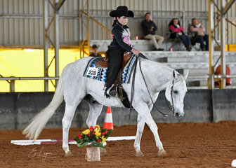 Lacey Lalor on her way to winning the Terry Tamblyn Memorial Senior Horse Trail, on Denims The Menace.