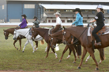 Charley Lalor, Lacey Lalor, Nate Potter, Cora Potter & Syerra Daley take a relaxing lap of the oval after a days showing