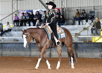 Crystal Harris riding CP Call Me Boss in Amateur Western Horsemanship