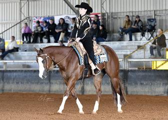 Crystal Harris riding CP Call Me Boss in Amateur Western Horsemanship